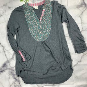 Anthropologie Floral & Grey Henley Top Size Small